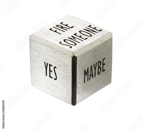 business dice, separated symbol of decision