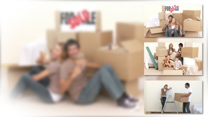 Montage of a couple moving with their children