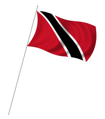 Flag of Trinidad and Tobago with pole flag waving