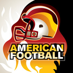 Designed american football banner with helmet.