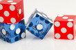 Colorful Las Vegas Gambling Dice on a White Background
