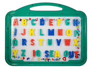 Magnetic letters on a whiteboard