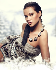 Winter  woman on snow