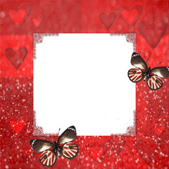 Red grange frame with hearts  and butterfly for design
