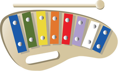 A vectorized child xylophone with many color.