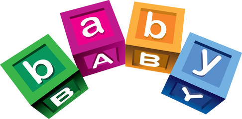 Vector illustration of colorful blocks with the word baby.