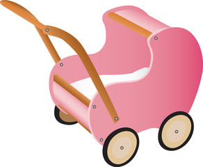 Illustration of pink wooden toy pram on white background.