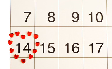 heart on the calendar on February 14, Valentine's Day