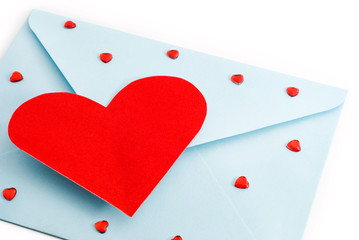 big red heart on the mail envelope, valentine