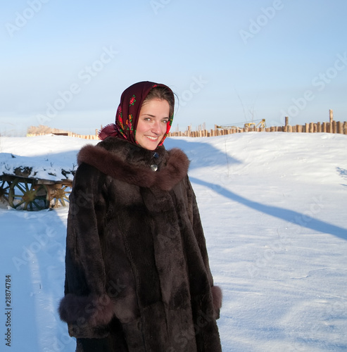 girl  against  winter rural