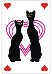 Two black cats and hearts. Love. Playing card,