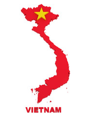 Vietnam, map with flag, isolated on white with clipping path