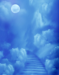 Fantasy scenery with magic stairs in sky