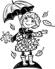 Girl with an umbrella.Children.