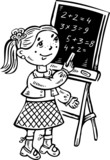 Girl decides to examples on the blackboard.Children. poster