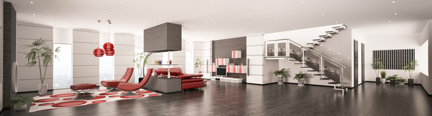 Modern apartment interior panorama 3d render
