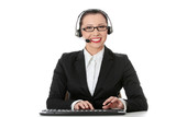 Beautiful customer service operator girl in headset