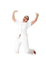 Smiling medical doctor or nurse jumping.