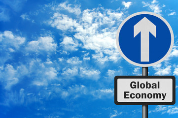Photo realistic 'global economy growth' sign, with space for tex