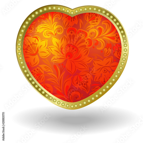 red heart with red floral ornament