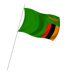 Flag of Zambia with pole flag waving over white background