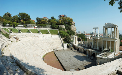 Ruins of ancient amphitheater in Plovdiv,Bulgaria