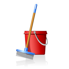 bucket with broom