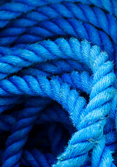 Closeup of blue coiled rope