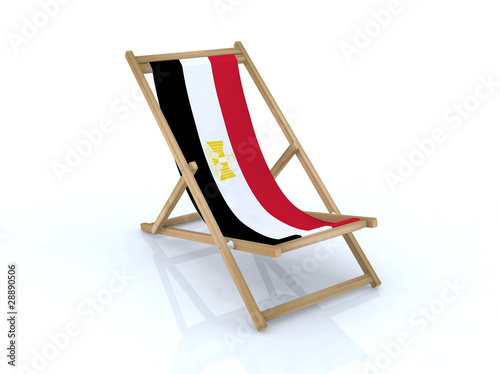 wood beach chair with Arab Republic of Egypt flag