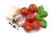 Tomatoes, basil, garlic and parmesan cheese