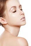 Spa beauty with natural make-up, clean skin, purity complexion poster