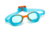 blue glasses for swim on white background