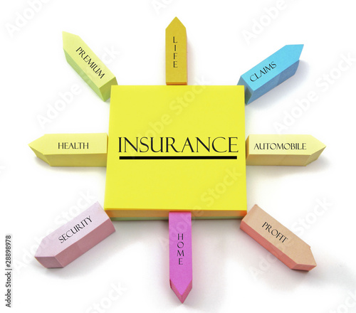 Insurance Concept on Arranged Sticky Notes