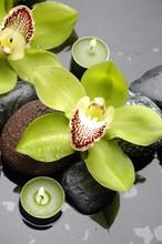 Spa encore la vie et vert fleur d'orchidée et bougie