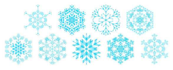 set of decorative snowflakes, vector