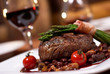 canvas print picture - grilled beef with tomato
