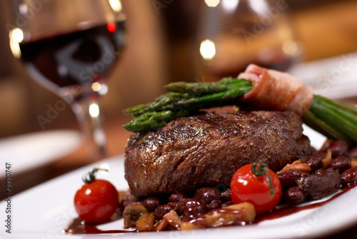 canvas print picture grilled beef with tomato