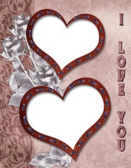 The floral vintage background with hearts and flowers.