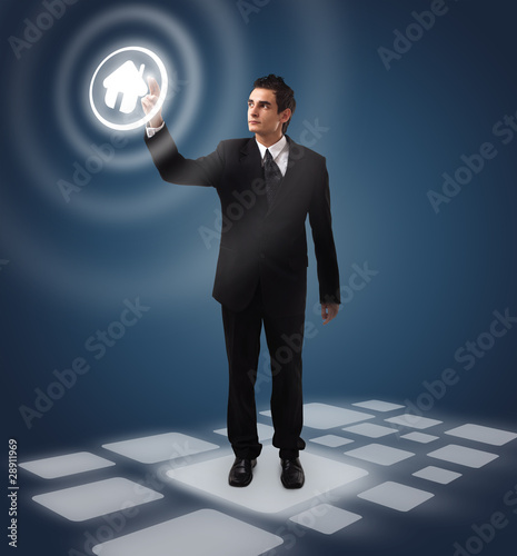 business man pressing button