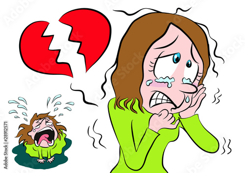 Cartoon girl shedding tears with broken heart