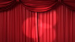 Opening and closing red curtain with spotlights