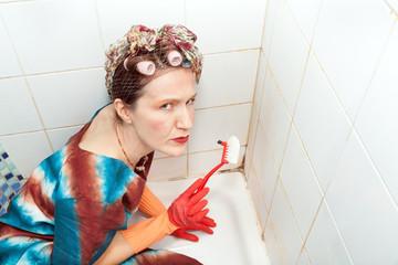 angry woman and dirty bathroom