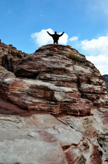 Man on top of mountain, Red Rock Canyon
