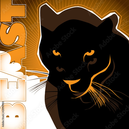 Artistic background with black puma.