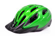 canvas print picture - green bicycle cross country plastic helmet isolated on white