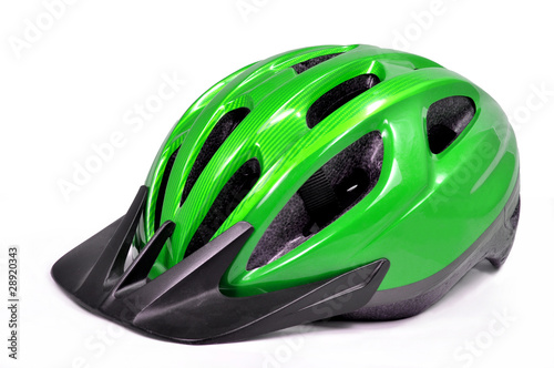 canvas print picture green bicycle cross country plastic helmet isolated on white