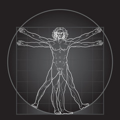 The Vitruvian man (Black Invert version)