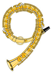 Saxophone-Style Musical Alphabet Number 9
