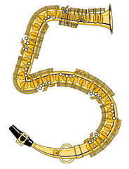 Saxophone-Style Musical Alphabet Number 5