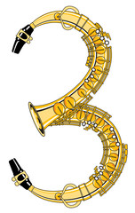 Saxophone-Style Musical Alphabet Number 3